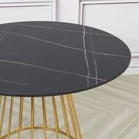 New  Black Liverpool Style Marble Table with Golden Chrome Legs -80cm